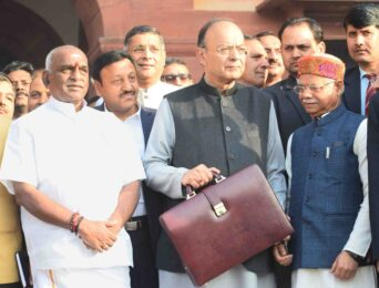 Budget 2018 Jaitley leaves for Parliament