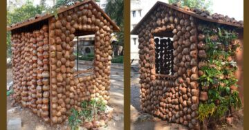 An eco-friendly home, made from coconut shells