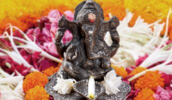 Fresh floral decorations for Ganesh Chaturthi