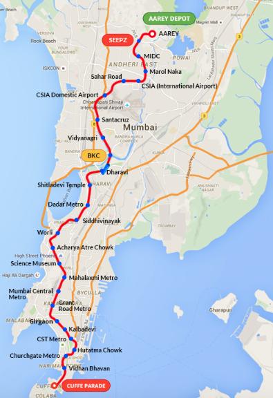 Mumbai Metro Line 3 Map