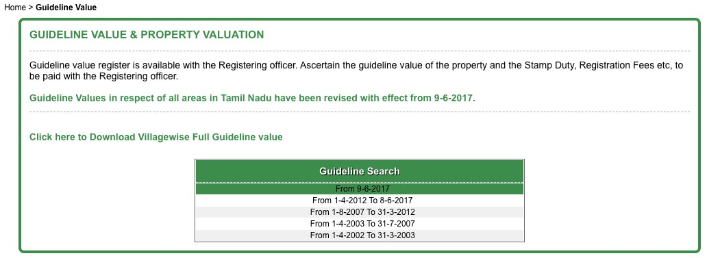 All about Guideline Value in Tamil Nadu