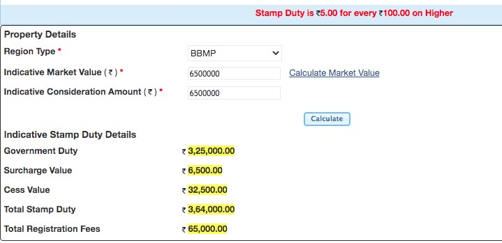 Stamp duty and registration charges in Bangalore