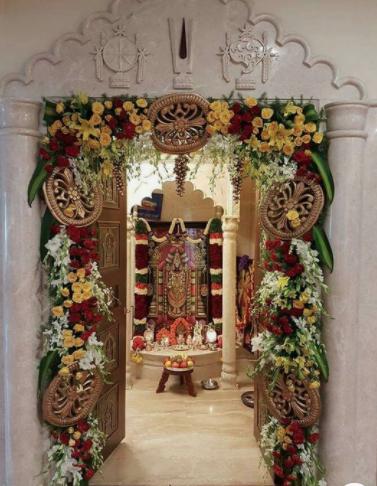 Flowers in puja room